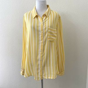 NWOT Abound Size Large Yellow & White Striped Top